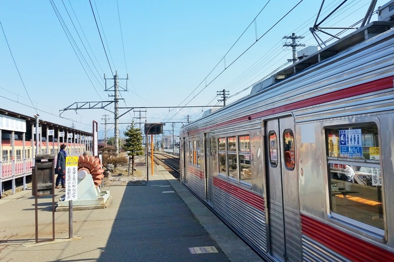 Obuse Station by train from Nagano. Backpacking Japan travel blog