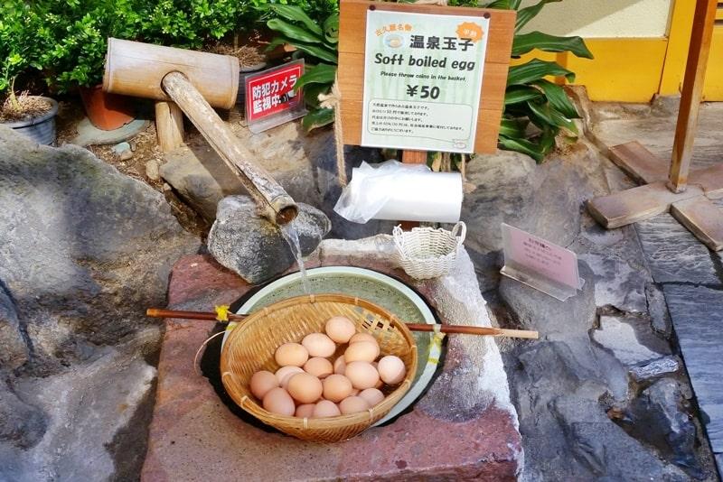 Shibu Onsen hot springs in Nagano. onsen eggs hot springs in japanese language. Backpacking Japan travel blog