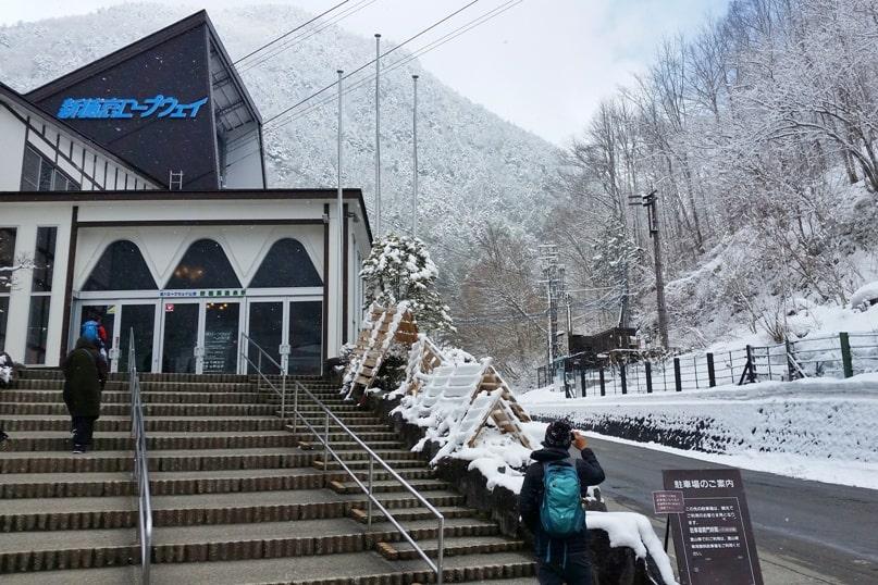 Shinhotaka ropeway in winter. bus stop entry in Japanese alps. Backpacking Japan winter travel blog