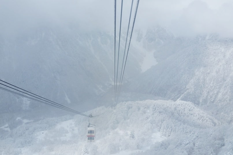 Is Shinhotaka ropeway in winter worth it in cloudy weather or bad weather? Day trip from Takayama. Best things to do in Japanese alps. Backpacking Japan winter travel blog