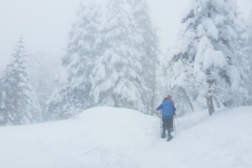 Best winter hiking trails from Shinhotaka ropeway. winter backpacking trip. snowshoeing trail. Day trip from Takayama. Best things to do in Japanese alps. Backpacking Japan winter travel blog