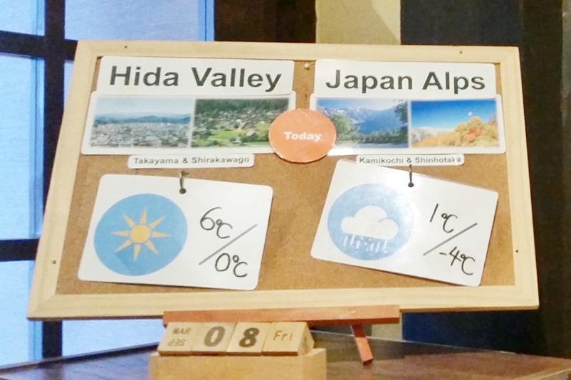 Shinhotaka ropeway winter weather forecast. Japan alps and Hida Valley. Day trip from Takayama. Backpacking Japan winter travel blog
