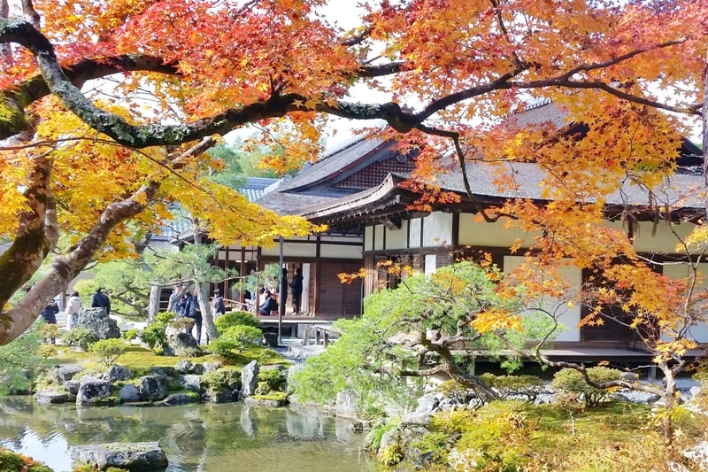 Autumn in Kyoto Japan. Best places to visit in Kyoto for fall foliage colors. Ginkakuji Temple. October, November, December. koyo momiji photos spots. red orange yellow. Kyoto Japan travel blog