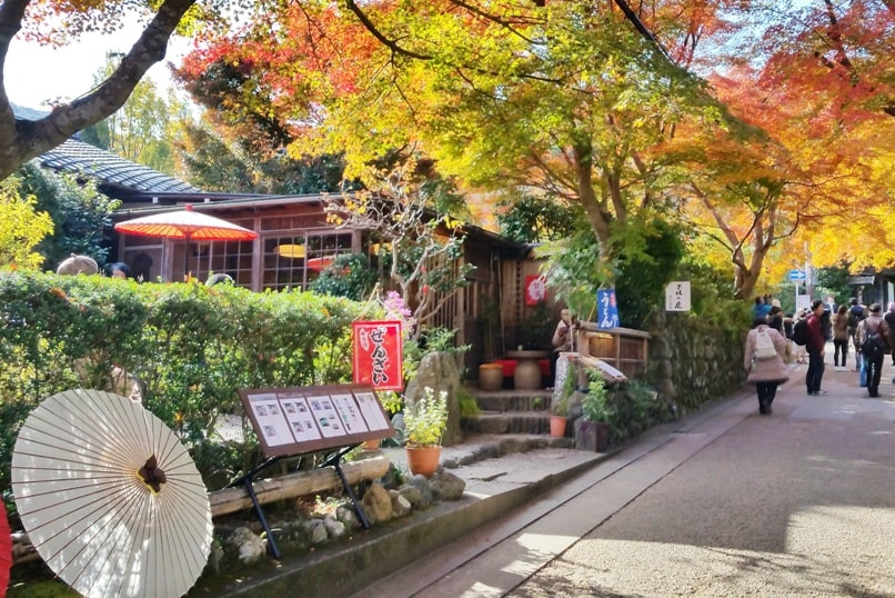 Autumn in Kyoto Japan. tea garden for fall foliage colors. arashiyama places to eat, restaurants, udon noodle shop. October, November, December. koyo momiji photos spots. red orange yellow. Kyoto Japan travel blog